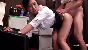 Asian office lady, Kanon Takikawa gets fisted and fucked