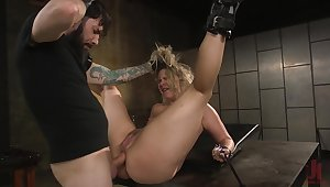 Super blonde model gets a ball gag in her mouth with reference to keep her quiet