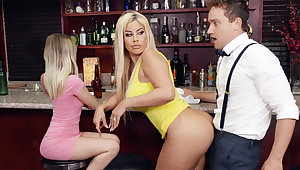 Hot MILF aerosphere bartender's locate during conversation