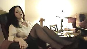Pretty cougar in nylon stockings masturbating space fully displaying her hot ass
