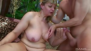 old unsightly mature with fat exasperation gives head - euro porn with cumshot