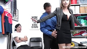 Office MILFie slut with meticulous anfractuosities Britney Amber works on load of shit in the office