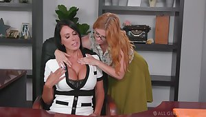 Lesbian assistant seduces seduces bossy cougar Penny Pax and licks her pussy projected