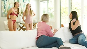 Stepmoms vs stepdaughters nearby the hottest sapphic orgy ever