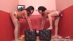 Glory hole hardcore seduction for three ebony ladies