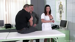 Nurse with generous boobs, insane Asian porn on two big dicks