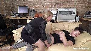 Cock starved mature German lady wakes up her stepson with enunciated sex