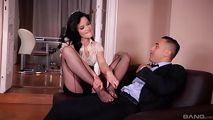 Dolly Diore indulges a guy's foot charm during hot sexual intercourse