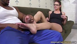 Laughing slutty nerdy nympho Brooklyn Pursue fingers herself as A she gives footjob