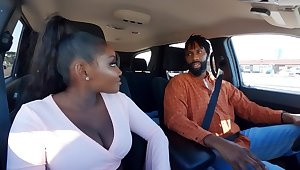 Married Ebony with pigtail and big pair fucked at hand the restroom