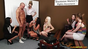 Energized women share their bodily CFNM play on cam