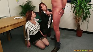 Older man gets his dick pleasured by Angelique Luka & Lucia Fancy