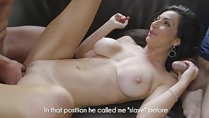 Two men be hung up on a busty wife and mob their way on touching jizz