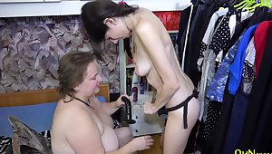 Endless joy of pussy make mincemeat of and lesbian presence with three extremely busty ladies