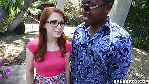 Redhead with nerdy glasses, clamminess personal space horse-racing BBC porn